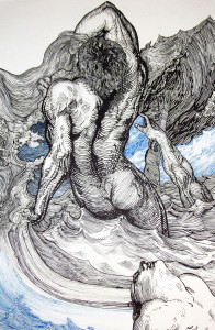 The Drowners, Andrew Nicholls, 2013, Archival ink pen on Arches Aquarelle paper, 102.5 x 66 cm