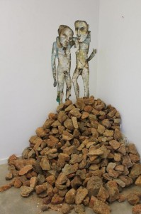 2men Stockpile, 2013, 210x210x120cm, mixed media on paper and rocks