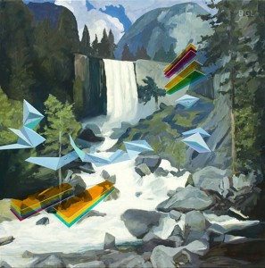 Waterfall, 2013, David Ledger, oil on linen, 101 x 101cm