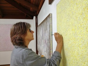 Artist Michele Theunissen at work in her studio, 2015 pic by Gail Robinson