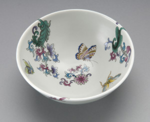 Butterfly Bowl inspired by visit to Jingdezhen China, 2012. Approx 6-7cm high x 10-12 cm wide. image Victor France.